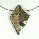 Jan Geisen handmade polymer clay, mixed media pendant necklace