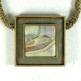 Jan Geisen handmade polymer clay jewelry - framed wearable abstract necklace
