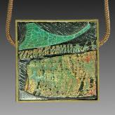 Jan Geisen handmade jewelry - framed abstract pendant necklace