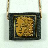 Jan Geisen handmade polymer clay jewelry - art deco woman pendant necklace N8025