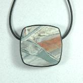 Jan Geisen handmade polymer clay jewelry - metal free pendant necklace