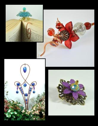 Jan Geisen garden art, floral jewelry, plant stakes, flower bookmarks