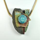 Jan Geisen handmade polymer clay jewelry - Egyptian collage pendant necklace